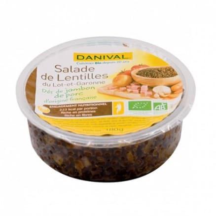 Salade de lentilles et dés de jambon