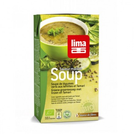 lima soupe l gumes verts aux lentilles tamari 1 l par lima ktalogue bio. Black Bedroom Furniture Sets. Home Design Ideas