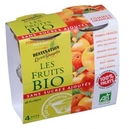 Les fruits bio Purée de Fruits Pommes Oranges 4x100 g de Les fruits bio