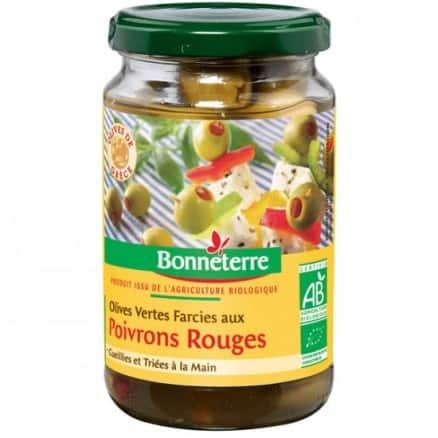 Olives vertes farcies aux poivrons rouges