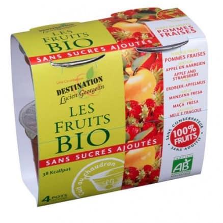 Les fruits bio Purée de Fruits Pommes Fraises 4x100 g