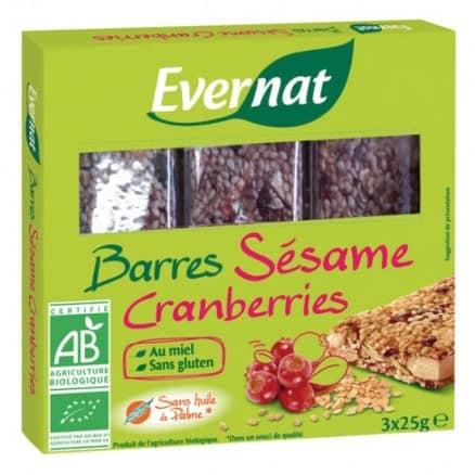 Evernat Barres Sésame Cranberries 3x25 g