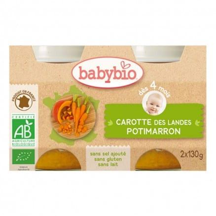 Babybio Petit pot Carotte des Landes & Potimarron 2x130 g