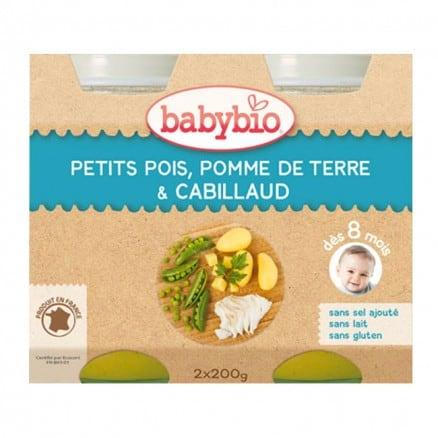 Babybio Petit pot Petits pois, Pomme de terre & Cabillaud 2x200 g de Babybio