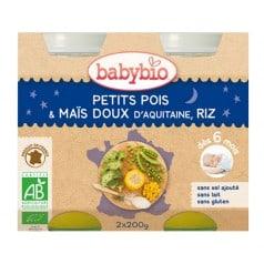 Petit Pot Bonne Nuit Petits Pois & Maïs Doux d'Aquitaine, Riz