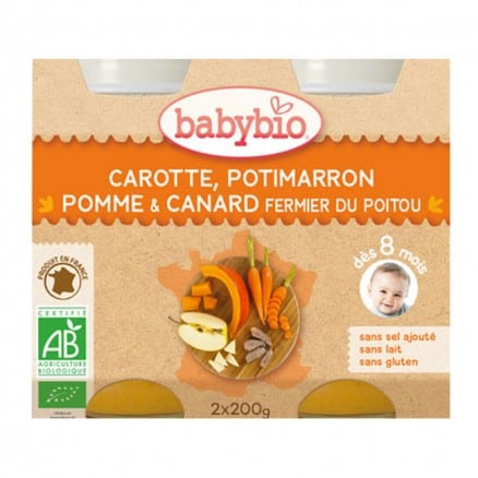 Petit pot Menu Carrote, Potimarron, Pomme & Canard babybio