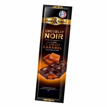 Tablette Chocolat Noir 70% Fourré Coeur Caramel 80g