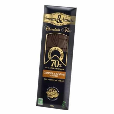 Tablette Cocolat Noir 70% Graines de Sésame Toastées 100g