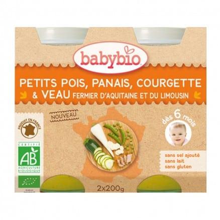 Babybio Petit pot Petits Pois, Panais, Courgette & Veau fermier Aquitaine & Limousin 2x200 g de Babybio