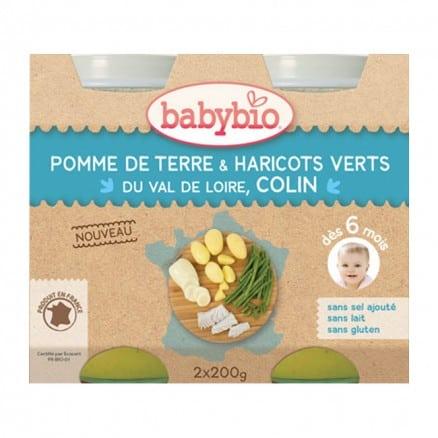 Babybio Petit pot Pomme de Terre & Haricots Verts Val de Loire, Colin 2x200 g