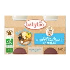 Petit pot bébé Douceur de Pomme d'Aquitaine & Myrtille 2X 130g