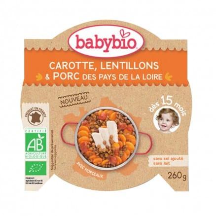 Assiette bébé Carotte, Lentillons et Porc des Pays de la Loire 260 g