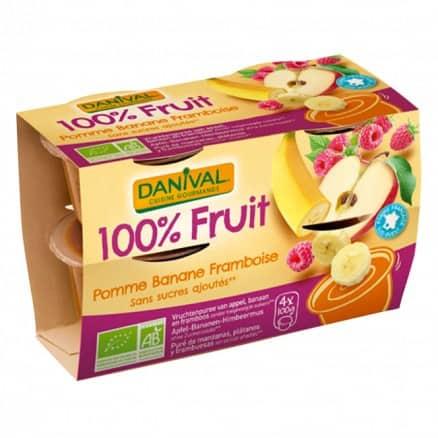 Purée 100% Fruit Pomme Banane & Framboise