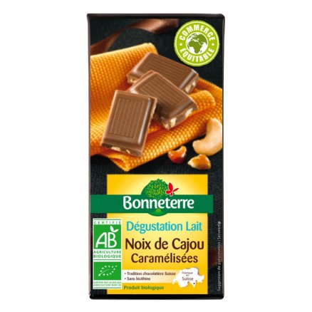 Bonneterre Chocolat au Lait Noix de Cajou Caramélisées 85 g de Bonneterre