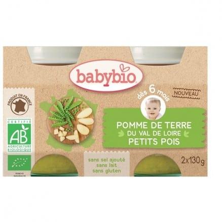 Babybio Petit pot Pomme de terre du Val de Loire Petits pois 2x130 g