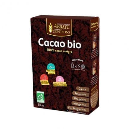 cacao bio 100 cacao maigre 200 g abbaye de sept fons. Black Bedroom Furniture Sets. Home Design Ideas