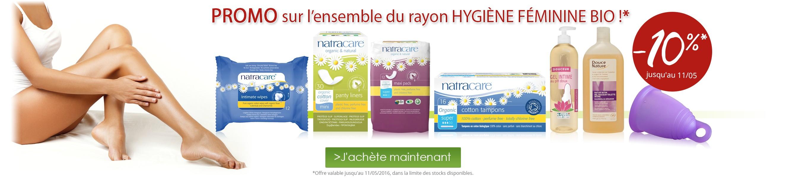 10% de réduction sur le rayon Hygiène féminine bio