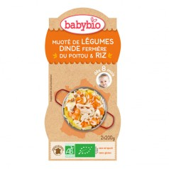 Bol Menu du Jour Mijoté de Légumes, Dinde Fermière du Poitou & Riz babybio