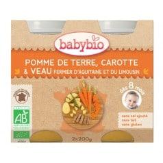 Petit pot Menu Pomme de Terre, Carotte et veau de babybio
