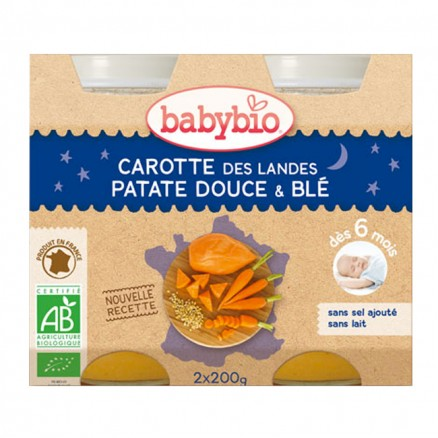 Petit Pot Bonne Nuit Carotte des Landes, Patate Douce & Blé