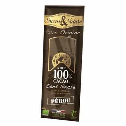 Tablette 100% Cacao sans sucre Origine Perou 100g