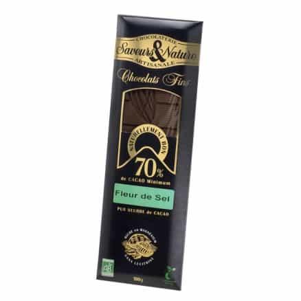 tablette de chocolat noir 70 la fleur de sel 100 g saveurs nature. Black Bedroom Furniture Sets. Home Design Ideas