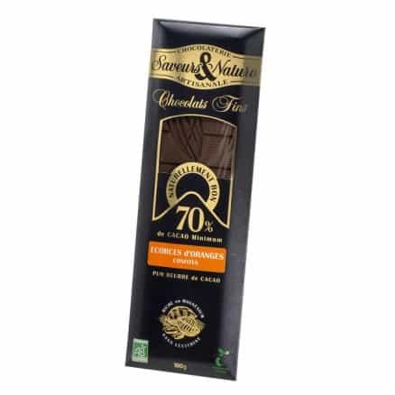 Tablette de Chocolat Noir 70% aux Ecorces d'Oranges 100g