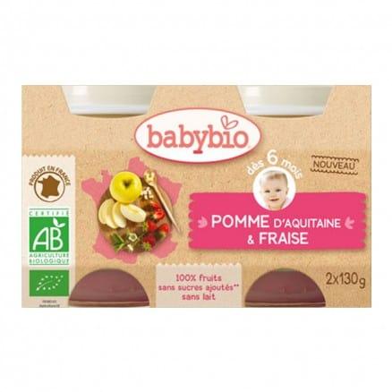 Petit pot bébé - Pomme d'Aquitaine & Fraise 130g X2