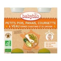 Petit Pot bébé Petits Pois, Panais, Courgette & Veau fermier d'Aquitaine et du Limousin 2x200g