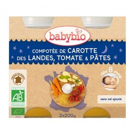 Petit Pot Bébé Compotée de Carotte des Landes, Tomate & Pâtes 2X 200g