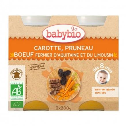 Petit pot bébé Carotte, Pruneau, Boeuf fermier d'Aquitaine & du Limousin 2X 200g