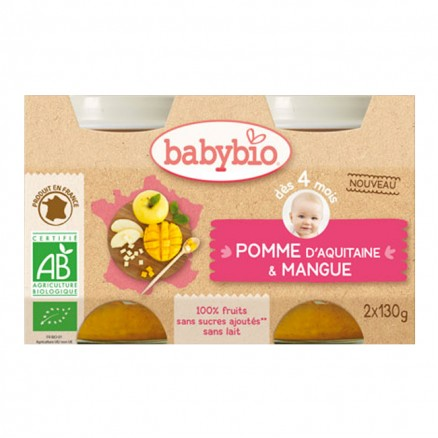 Petit pot bébé Pomme d'Aquitaine & Mangue 2X 130g