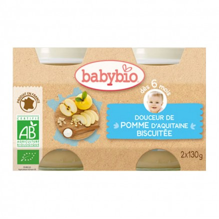 Petit Pot bébé Douceur de Pomme d'Aquitaine Biscuitée 2X 130g