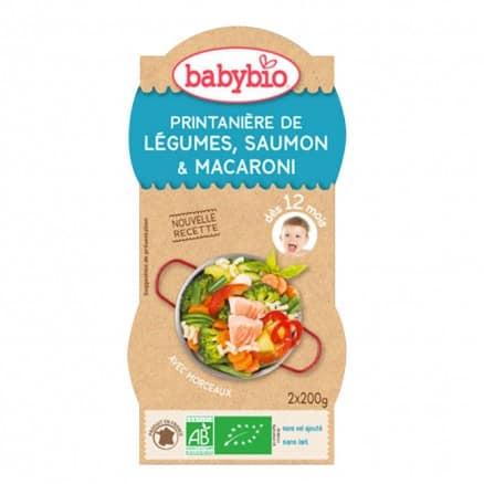 Bols bébé Printanière de Légumes, Saumon & Macaroni 2x 200g