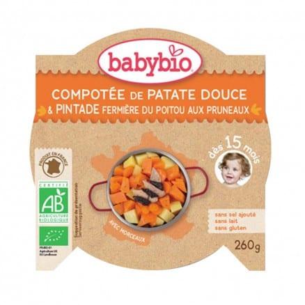 Assiette bébé Compotée de Patate Douce et Pintade fermière du Poitou aux Pruneaux 260 g