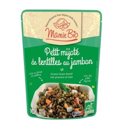 Lentilles vertes cuisinées légumes jambon