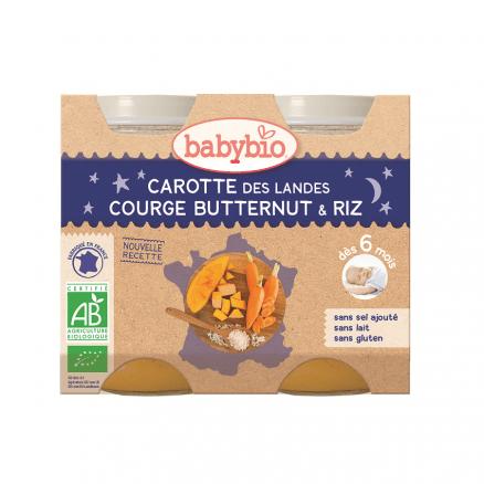 Petit Pot Bonne Nuit Carotte des Landes, Potimarron & Riz