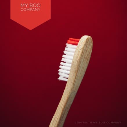 Brosse Bambou Adulte Medium Rouge