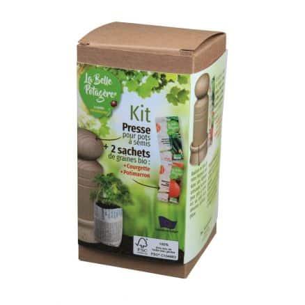 Kit Presse Pots à Semis FSC Potimarron et Courgette