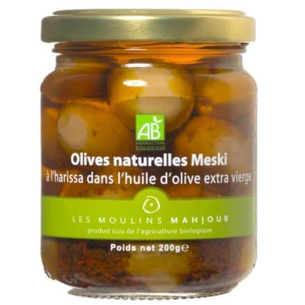 Olives Vertes Meski à l'Huile d'Olive et Harissa
