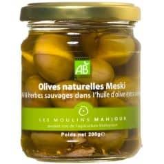 Olives Vertes Meski à l'Huile d'Olive et Ail & Herbes Sauvages