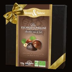 Coffret d'Escargots Praliné Noisette Enrobées Chocolat Noir et Lait