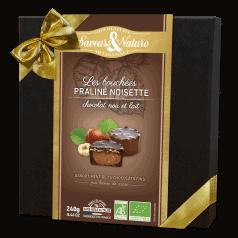 Coffret Bouchées Praliné Noisette Enrobés Chocolat Noir et Lait